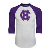 White/Purple Raglan Baseball T Shirt-Interlocking HC