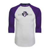 White/Purple Raglan Baseball T Shirt-Official Logo Distressed