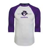 White/Purple Raglan Baseball T Shirt-Grandpa