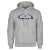 Grey Fleece Hoodie-Crusaders Football Horizontal