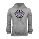 Grey Fleece Hood-Crusaders Basketball Arched w/ Ball