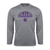 Performance Steel Longsleeve Shirt-Basketball Half Ball Design