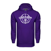 Under Armour Purple Performance Sweats Team Hoodie-Crusaders Basketball Arched w/ Ball