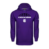 Under Armour Purple Performance Sweats Team Hood-Basketball Half Ball Design