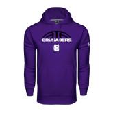 Under Armour Purple Performance Sweats Team Hoodie-Basketball Half Ball Design