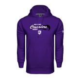 Under Armour Purple Performance Sweats Team Hoodie-Hockey Puck Design