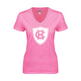 Next Level Ladies Junior Fit Deep V Pink Tee-HC Shield