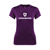 Ladies Syntrel Performance Purple Tee-Vollyball Ball Design