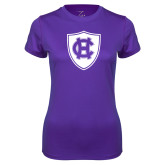 Ladies Syntrel Performance Purple Tee-HC Shield