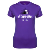 Ladies Syntrel Performance Purple Tee-2019 Football Champs
