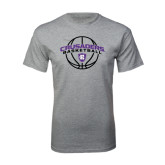 Grey T Shirt-Crusaders Basketball Arched w/ Ball