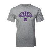 Grey T Shirt-Basketball Half Ball Design