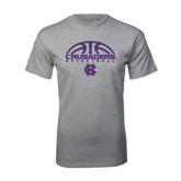 Grey T Shirt-Basketball Half Ball Design