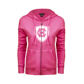 ENZA Ladies Fuchsia Fleece Full Zip Hoodie-HC Shield