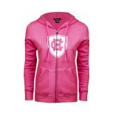 ENZA Ladies Fuchsia Fleece Full Zip Hoodie-HC Shield