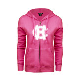 ENZA Ladies Fuchsia Fleece Full Zip Hoodie-Interlocking HC