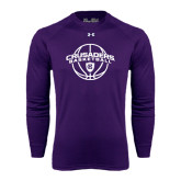 Under Armour Purple Long Sleeve Tech Tee-Crusaders Basketball Arched w/ Ball