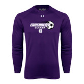 Under Armour Purple Long Sleeve Tech Tee-Soccer w/ Flying Ball