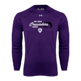 Under Armour Purple Long Sleeve Tech Tee-Hockey Puck Design