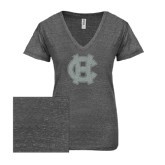 ENZA Ladies Graphite Melange V Neck Tee-Interlocking HC