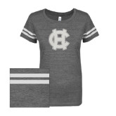 ENZA Ladies Dark Heather/White Vintage Triblend Football Tee-Interlocking HC