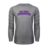 Grey Long Sleeve T Shirt-Holy Cross Crusaders Arched