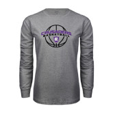 Grey Long Sleeve T Shirt-Crusaders Basketball Arched w/ Ball