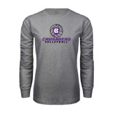 Grey Long Sleeve T Shirt-Vollyball Ball Design