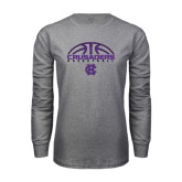 Grey Long Sleeve T Shirt-Basketball Half Ball Design