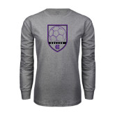Grey Long Sleeve T Shirt-Soccer Shield Design