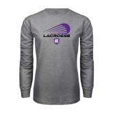 Grey Long Sleeve T Shirt-Abstract Lacrosse Design