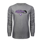 Grey Long Sleeve T Shirt-Hockey Puck Design