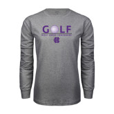Grey Long Sleeve T Shirt-Golf Ball Design