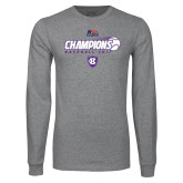 Grey Long Sleeve T Shirt-2017 Patriot League Mens Champions Baseball