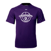 Under Armour Purple Tech Tee-Crusaders Basketball Arched w/ Ball