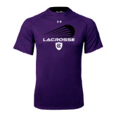 Under Armour Purple Tech Tee-Abstract Lacrosse Design