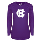 Ladies Syntrel Performance Purple Longsleeve Shirt-Interlocking HC