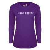 Ladies Syntrel Performance Purple Longsleeve Shirt-Holy Cross Wordmark