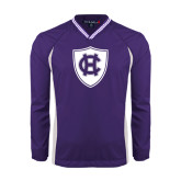 Colorblock V Neck Purple/White Raglan Windshirt-HC Shield