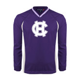 Colorblock V Neck Purple/White Raglan Windshirt-Interlocking HC