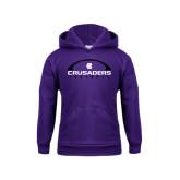 Youth Purple Fleece Hood-Crusaders Football Horizontal