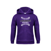 Youth Purple Fleece Hoodie-Baseball Stitches