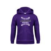 Youth Purple Fleece Hood-Baseball Stitches