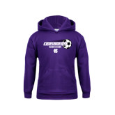 Youth Purple Fleece Hoodie-Soccer w/ Flying Ball