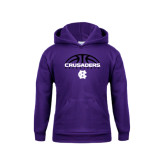Youth Purple Fleece Hoodie-Basketball Half Ball Design