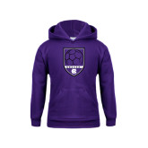 Youth Purple Fleece Hoodie-Soccer Shield Design