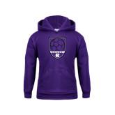 Youth Purple Fleece Hood-Soccer Shield Design