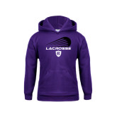 Youth Purple Fleece Hoodie-Abstract Lacrosse Design