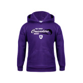 Youth Purple Fleece Hoodie-Hockey Puck Design