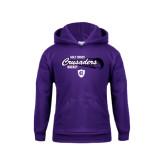 Youth Purple Fleece Hood-Hockey Puck Design